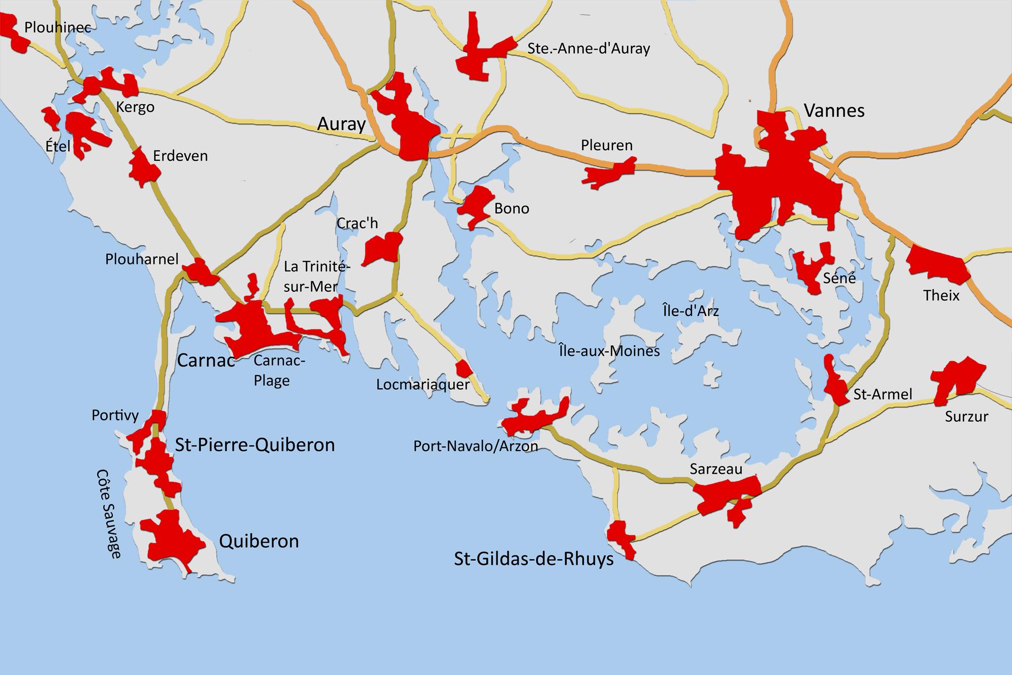 Der Bereich um Vannes am Golf von Morbihan