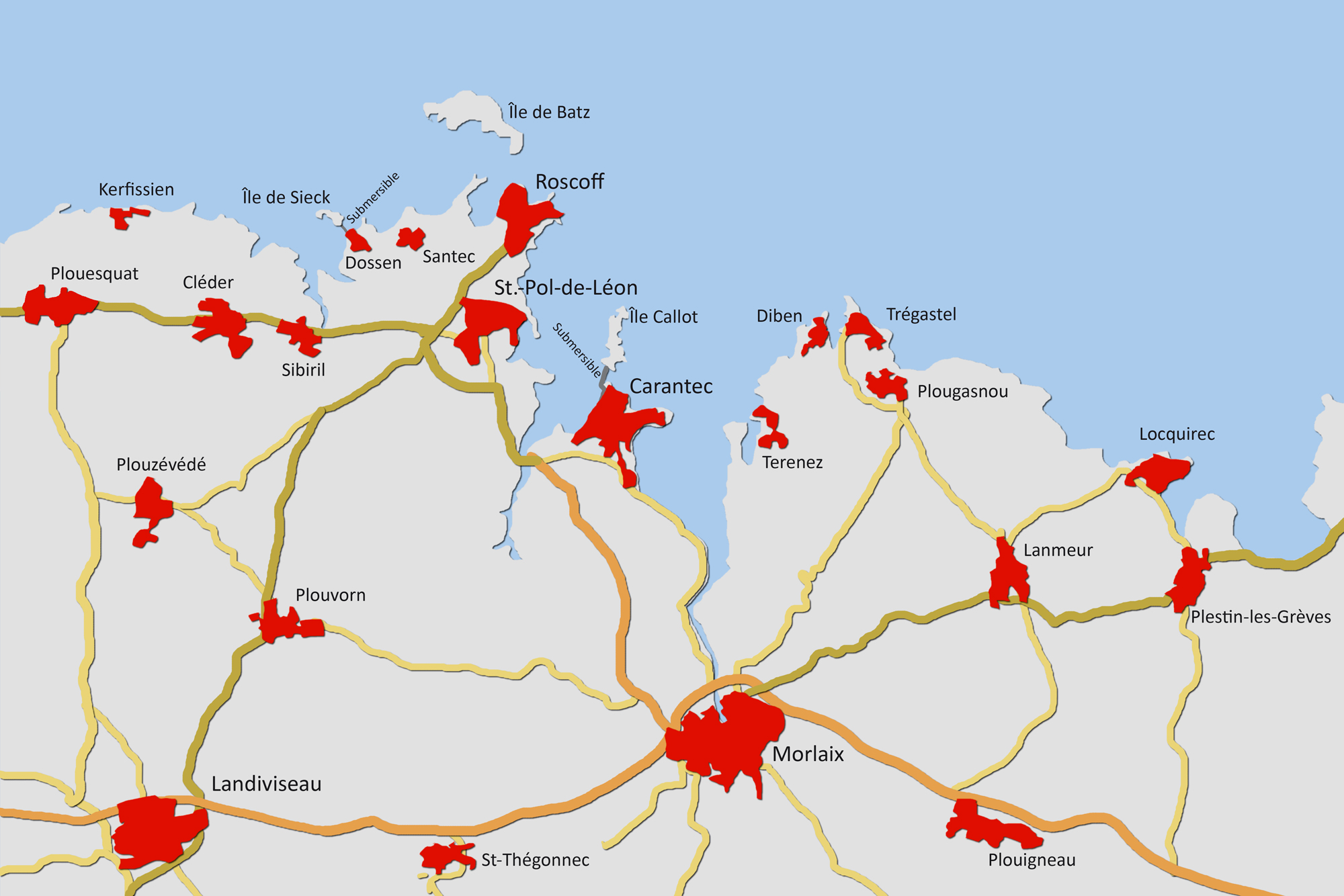 Der Bereich um Roscoff und Morlaix im Norden