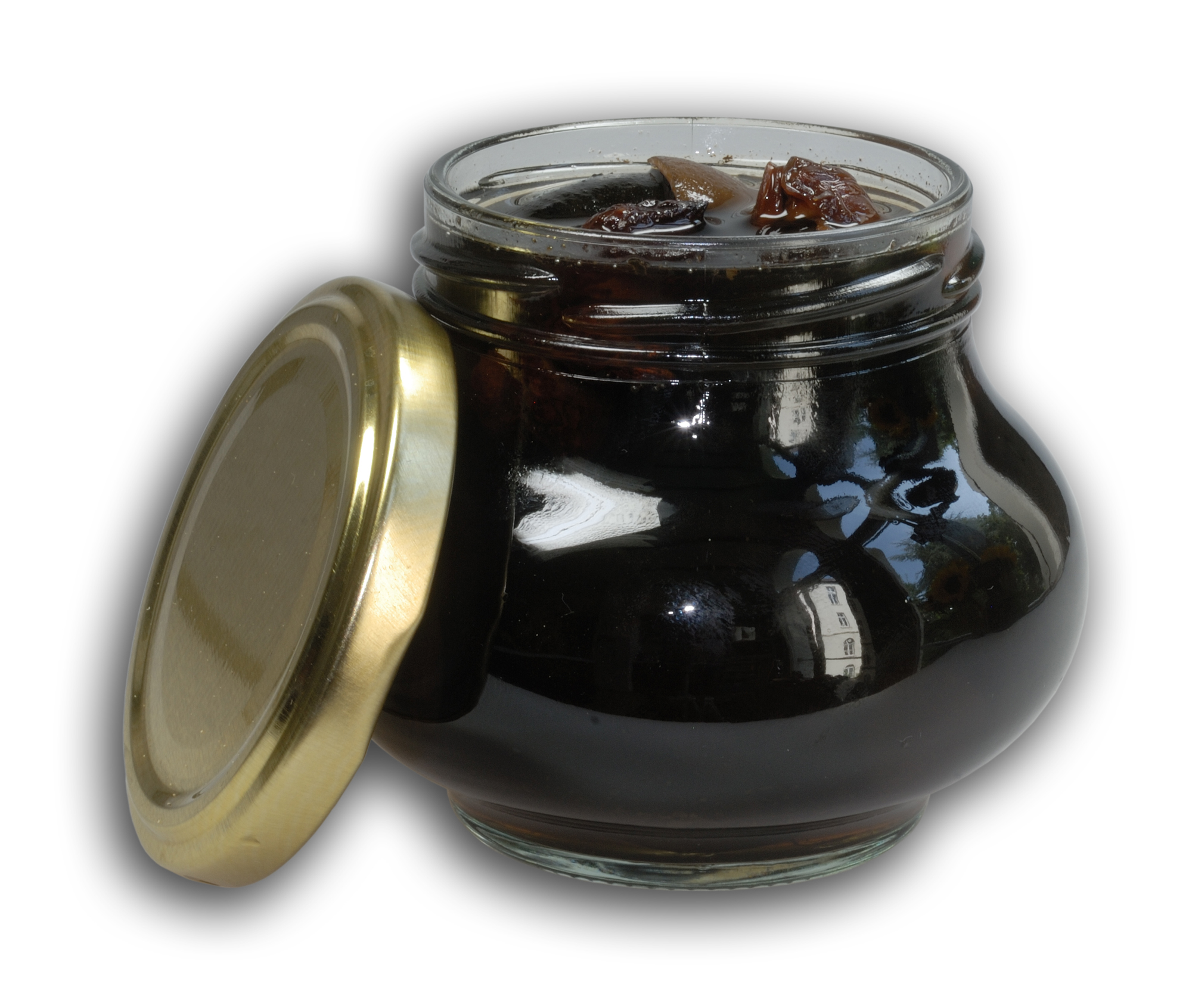 Schwarze Walnüsse im Glas