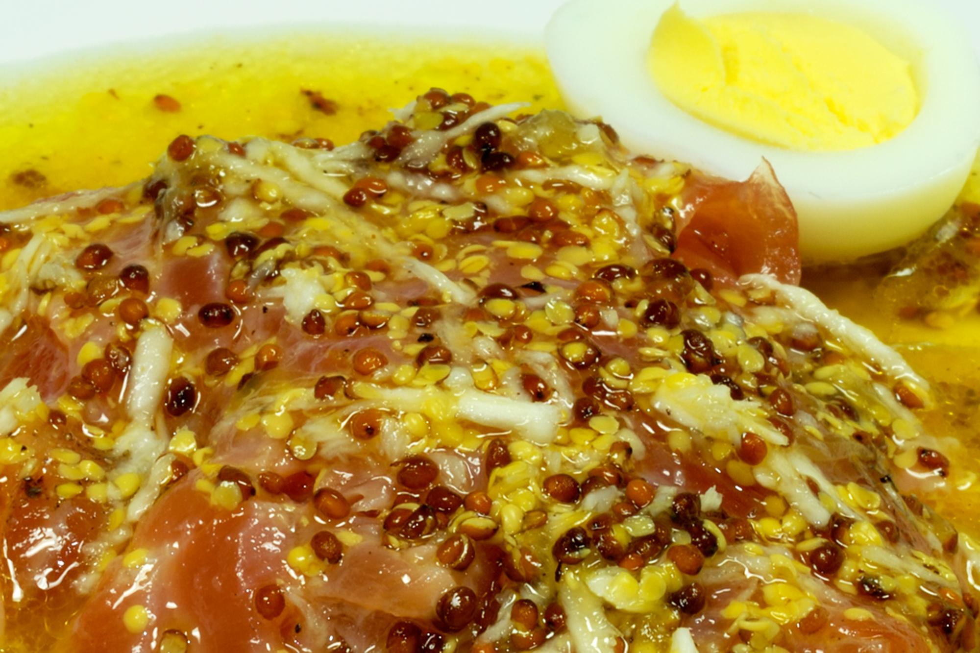gebeiztes Lachsfilet mit Orangendressing, Ausschnitt