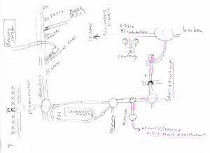 Der von M. Benoît eigens für seine Gäste angefertigte Lageplan der 'Alten Mühle' in Neuville-sur-Sarthe