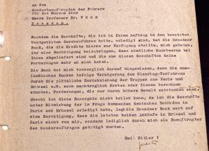 Schreiben von Hildebrand Gurlitt an Prof. Dr. Hermann Voss, der 1943 zum Sonderbeauftragten für den Aufbau und die Bestückung von Hitlers geplantem Führermuseum in Linz ernannt wurde.