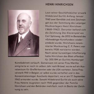Ein Beispiel für die Verweigerungshaltung von Hildebrand Gurlitt ist der Fall von Henri Hinrichsen